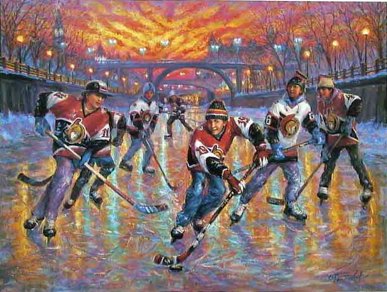 Magic Of Hockey commissioned painting: Hockey Ottawa Senators