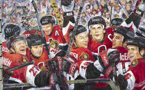 Winners. Ottawa Senators, commissioned oil painting: Hockey Ottawa Senators