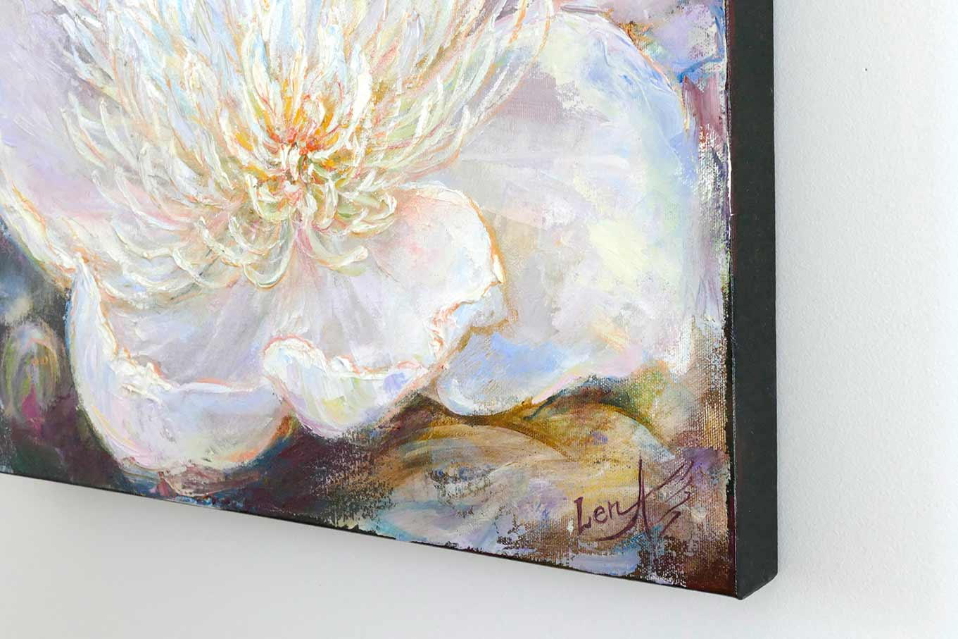 gentle light feng shui original fine art painting peony for healing balance and good luck. Black Bedroom Furniture Sets. Home Design Ideas