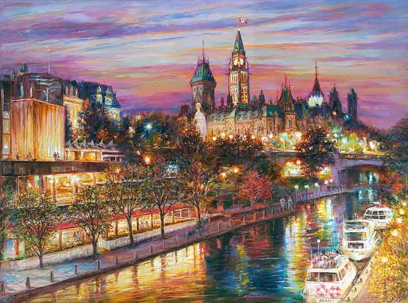 romantic ottawa night original fine art painting for