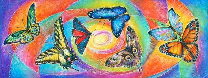"""""""Seven Wishes"""" - for your wishes to become true - Metaphysical Energy art canvas and paper prints with  Monarch, Yellow Eastern Tiger Swallowtail, Brown Owl, Red Cinnabar Moth, Green Bird Wing Butterfly, Blue and Pearl Morphos butterflies"""