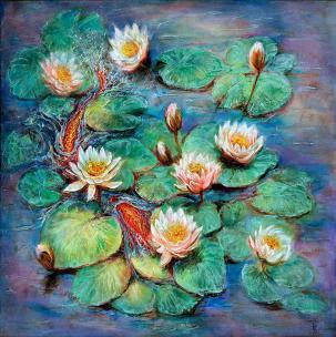 Balance - inspired by Claude Monet's Water Lilies and Water Lily Pond masterpieces - art canvas and paper prints