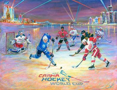 CARHA hockey World Cup 2016 & original six - Windsor Canada art prints for good luck by Ottawa Artist Elena Khomoutova