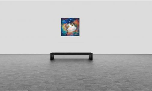 """""""Secret of the Cosmic Box"""" metaphysical energy fine art painting for healing your pets - inspired by Maru the Cat by the world-renowned Ottawa artist Elena Khomoutova - view in room"""