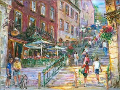 Côté ensoleillé Québec - sunny side Quebec - Original fine art Painting - for good luck by Ottawa Artist Elena Khomoutova