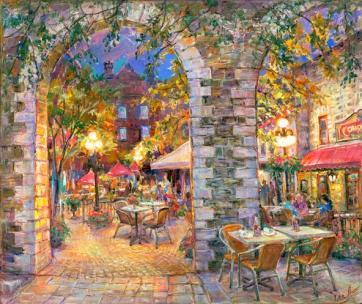 Courtyard Lights. Ottawa - Original fine art Painting - for good luck by world renowned Ottawa Artist Elena Khomoutova