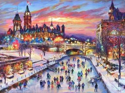 """Festive Ottawa"" - giclee print by world renowned Ottawa artist Elena Khomoutova"