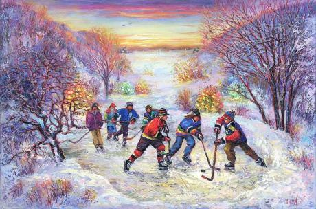 """Friendly Hockey"" - for good luck - fine art limited edition print by Artist Elena Khomoutova"