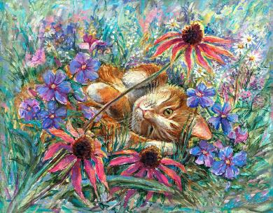 Funny Cat - ginger colored cat - for Joy and Good Luck - art canvas and paper prints