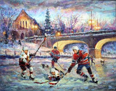 Hard Ice - Ottawa Senators Hockey & Montreal Canadians-art prints for good luck by Ottawa Artist Elena Khomoutova