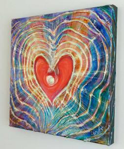 Light of Love - Feng Shui Spiritual Metaphysical energy art Painting - side view - by world renowned Ottawa artist Elena Khomoutova