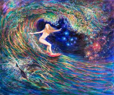 Night surfing - girl is riding inside the wave tube with dolphins - suggest a title for female surfing girl