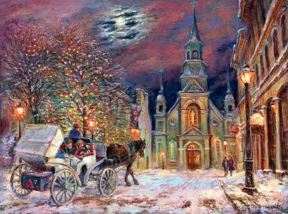 Magic Of Notre Dame De Bonsecours. Montreal - for Good Luck - Magie de Notre Dame de Bonsecours. Montréal, Québec - pour la bonne chance - spiritual metaphysical art canvas & paper prints by Ottawa Artist Elena Khomoutova