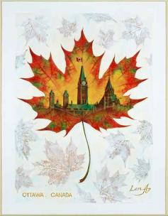 Ottawa. Canada - art painting on a real maple leaf - for good luck