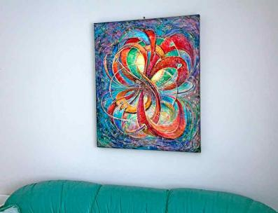 Multidimensional Eternal Bliss - fine art painting above the sofa Ottawa artist  Elena Khomoutova