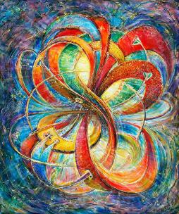 Multidimensional Eternal Bliss - spiritual fine art painting - for Love, Good Luck & Light by world renowned Ottawa artist  Elena Khomoutova