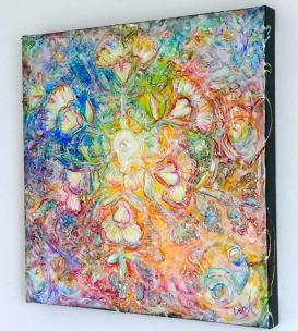 Opening to Love - metaphysical original art painting by world renowned Ottawa artist Elena Khomoutova - view showing painted edges
