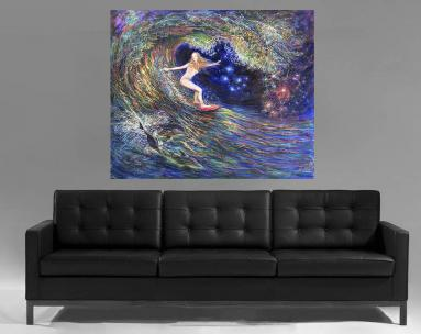Night surfing - girl is riding inside the wave tube with dolphins. Above the sofa view