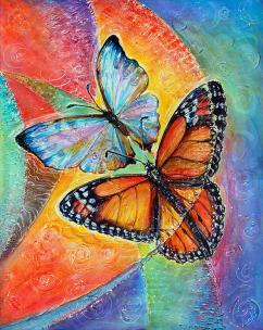Light and Soul - Pearl Morpho and Monarch butterflies - for joy and good luck - art canvas and paper prints by Ottawa Artist Elena Khomoutova