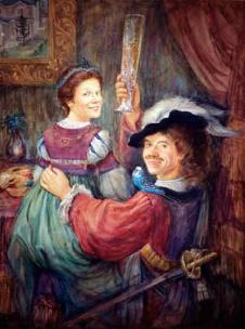 "Gift based on Rembrandt van Rijn's painting ""Self portrait with Saskia"" by Ottawa Artist Elena Khomoutova"