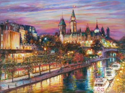 Romantic Ottawa Night - original fine art painting - for good luck by Ottawa artist Elena Khomoutova