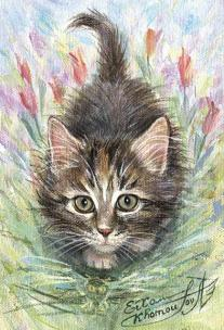 """Spring Kitten"" - metaphysical energy art image for good luck"