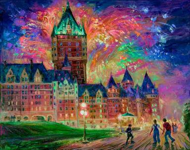 Summer Fireworks. Quebec. Frontenac - Original fine art Painting - for Good Luck