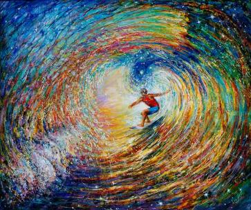 Surfing the Universe is for Good Luck, creativity and awakening of your connection to Higher Self - fine art canvas embellished print