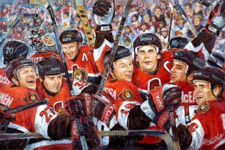 """Winners"" - Original Ottawa Senators embellished giclee print by world renowned artist Elena Khomoutova"