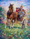 Happy Ride - Children and Horse - for Joy and Good Luck - art canvas and paper prints by Ottawa Artist Elena Khomoutova