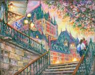 Chateau Frontenac Lights. Quebec - Château Frontenac Lumières Québec - spiritual fine art painting - for Good Luck by Ottawa Artist Elena Khomoutova
