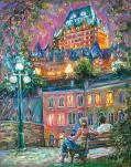 Romantic Light - Quebec City - Lumières Romantiques - La ville de Québec fine art painting - world renowned Ottawa artist  Elena Khomoutova