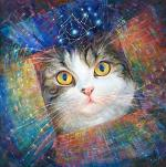 """Secret of the Cosmic Box"" metaphysical energy fine art painting for healing your pets - inspired by Maru the Cat by the world-renowned Ottawa artist Elena Khomoutova."